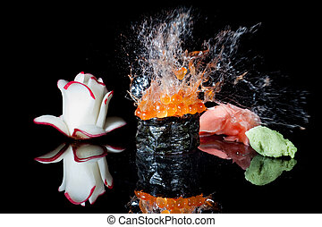 Sushi explosion - sushi being shot with a pellet gun