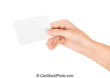Hand holding blank business card Isolated on white