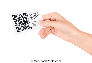 QR Code Business Card Concept - Hand showing business card...