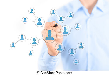 Social network connection concept - Businessman drawing...