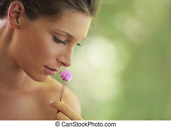 Beauty in nature - Portrait of Fresh and Beautiful woman...
