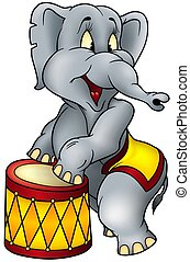 Elephant circus performer - detailed colored illustration