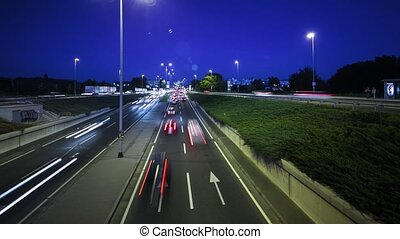Traffic in city time lapse by night