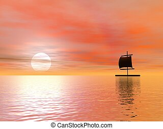 Raft by sunset - Raft floating alone on the ocean by cloudy...