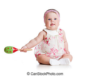 Baby  girl with musical toys. Isolated on white background