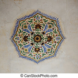 Art decoration on celing in Amber Fort, India