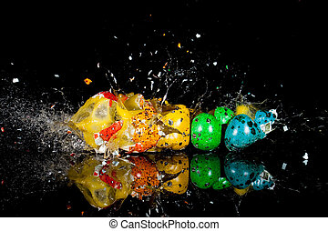 Quail Eggs and Bullets - colorful quail eggs shot with a...