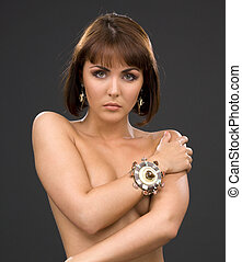 retro jewelry woman - picture of lovely woman in...