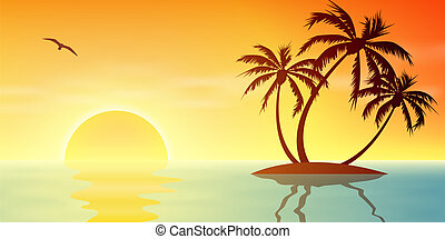 Tropical Island - A Tropical Island Sunset, Sunrise with...