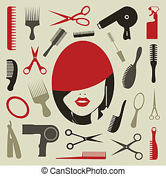 Hairstyle an icon - Tooling a hairstyle for design A vector...