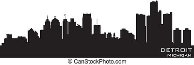 Detroit, Michigan skyline Detailed vector silhouette