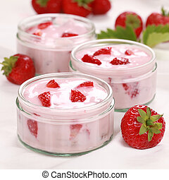 Strawberry Yogurt - Strawberry yogurt served with fresh...