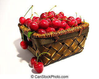 Cherry basket 3 - A basket full of ripe cherry three fourths...