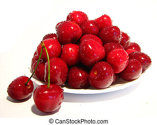 Cherry saucer 1 - A saucer full of ripe cherry with a...