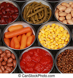 Canned vegetables - Different kinds of vegetables such as...