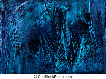 Blue Feathers background in wax painting