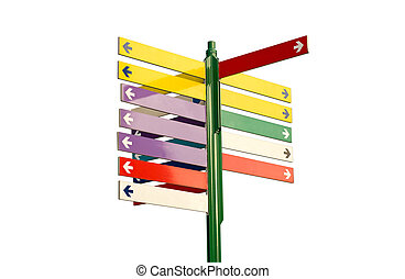 Colorful direction signs - in Slovak language