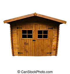 Wooden Garden Shed (Isolated) - Wide angle view of a Shed,...