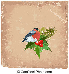Old grunge card on Christmas with a bird