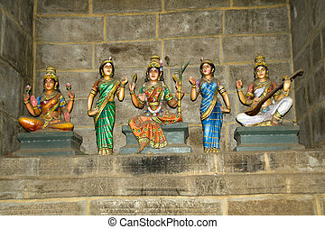 Lakshmi, Parvathi and Saraswathi - Idols of Hindu Goddesses...