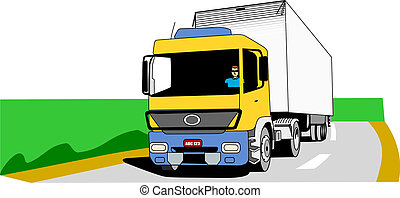 Cargo Truck On The Road - Yellow, blue and white cargo truck...