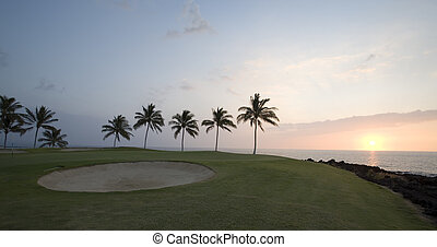 Hawaii Golf Course Sunset Panorama