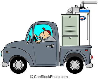 Truck hauling a furnace - This illustration depicts a man...