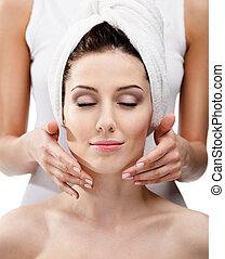 Makeup artist applies cosmetics on the girl's face - Makeup...