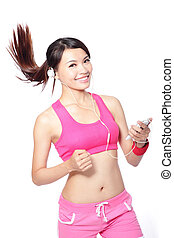sport woman happy running with music