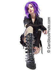 culture - Portrait of a punk girl. Isolated over white...