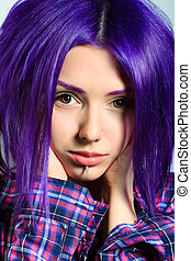 sad teen - Portrait of a punk girl with purple hair