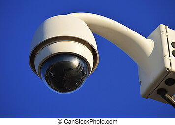 Hi-tech dome type camera over a blue sky