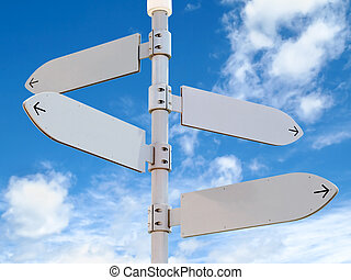 Blank Directional Signs Post with Four Arrows Over Blue Sky