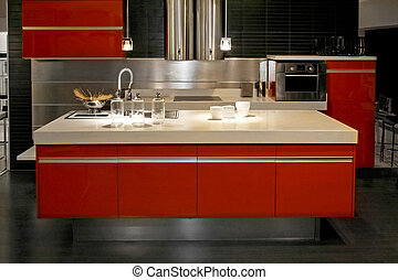 Kitchen counter - Big red kitchen counter with all...