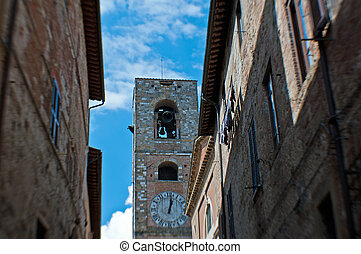 the bell tower in the historical center of Colle