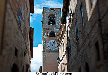 the bell tower in the historical center of Colle , lensbaby