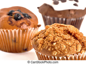 Muffins - Three muffins on a white background