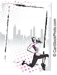 zumba poster - 	illustration of jumping woman