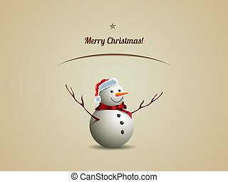 christmas postcard with snowman