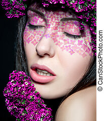 Close up portrait of model make up with eyes shut - Close up...