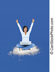 Happy woman computing on cloud