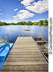 muelle, lago, verano, cabaña, país