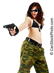 Hijack - Thief girl in camouflage pants with a big pistol....