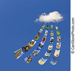 Storing photos on cloud - Concept of cloud services for...