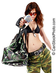 Thief girl in camouflage pants with a big bag full of money....