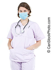 Woman doctor wearing mask