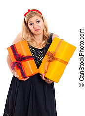 Indecisive woman with two gifts - Indecisive woman holding...