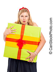Greedy woman with gift - Greedy woman holding big gift box,...