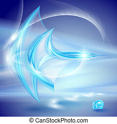 Abstract blue background with glass elements