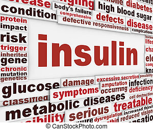 Insulin warning message background. Medical poster design